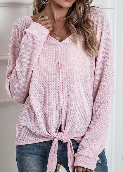 V-neck Button Top Women knotted CardiganT-shirt