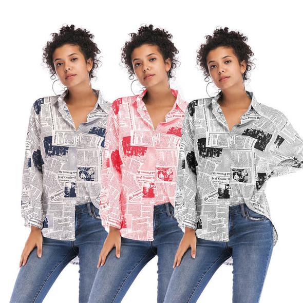 Letter Print Blouse Newspaper Women Shirt