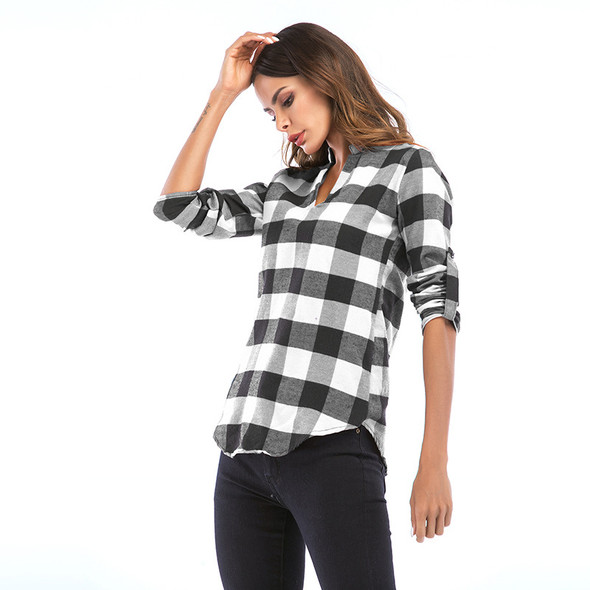 Large Size t-Shirt Women British Plaid Pullover Shirt