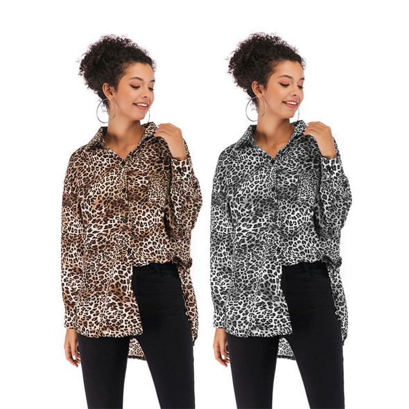 Leopard Print Chiffon Shirt Women Long sleeves