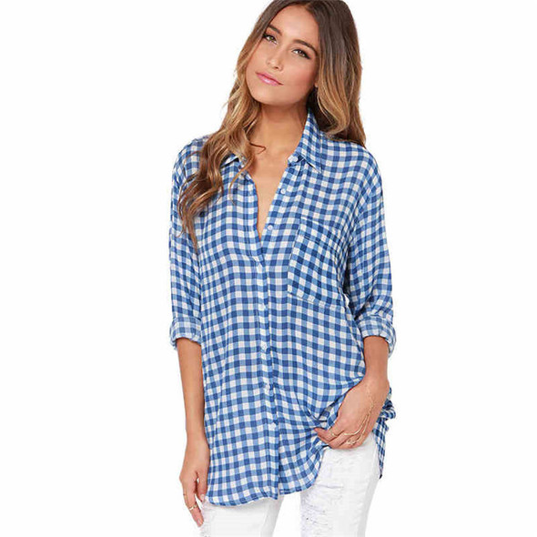 Spring Student Long-sleeved Blue Plaid Shirt
