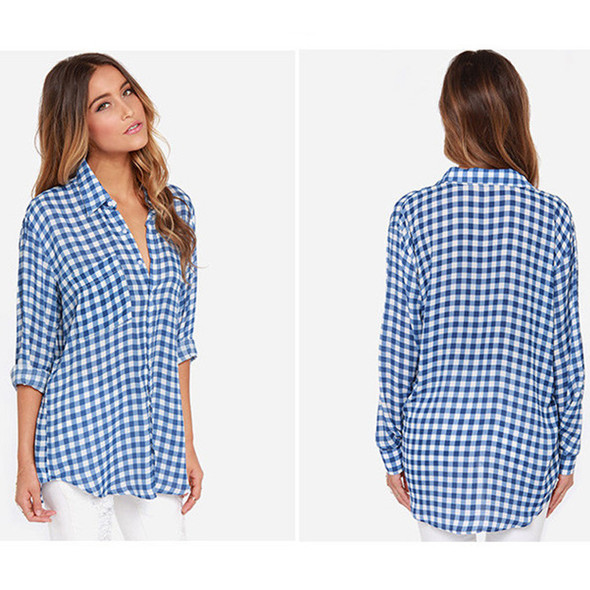 Spring Student Long-sleeved Blue Plaid Shirt