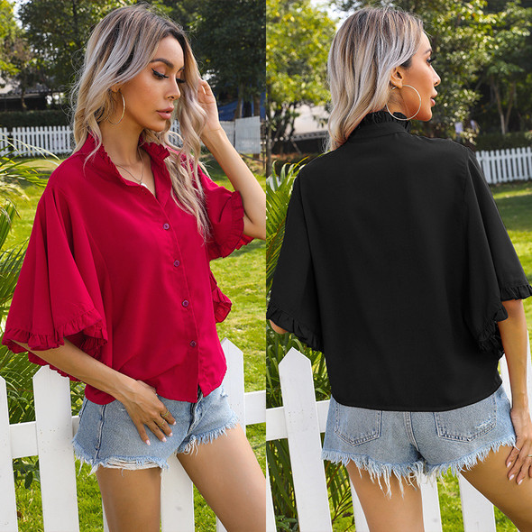 Women's Solid Color Ruffled Short-sleeved Shirt