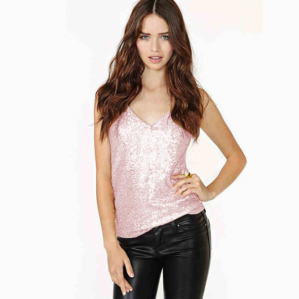 Sleeveless vest V-neck Sequins Women's Tank Top