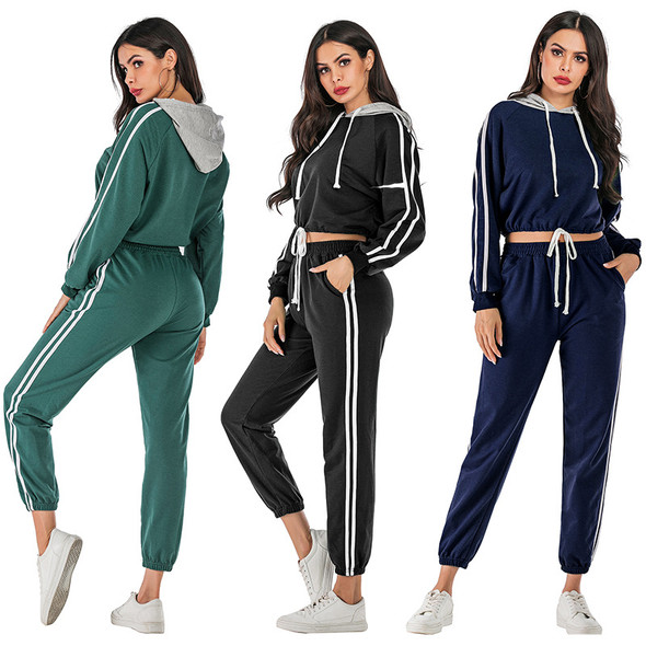 Spring Sports Suit Women Hooded Two-piece Suit