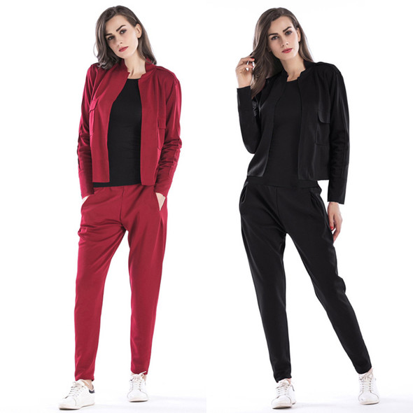 Retro Solid Color Long-sleeved  Causal Women Suit