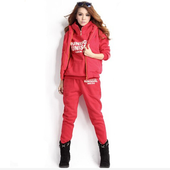 Women's Hooded Suit Three-piece Fleece