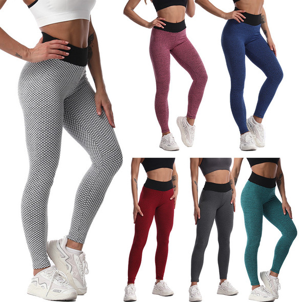 Womens High Waist Slim Fit Bubble Yoga Pants