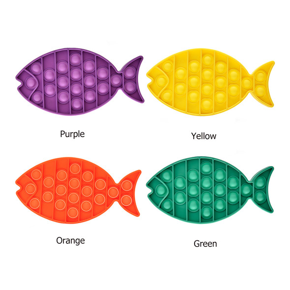 Fish Push Bubble Fidget Sensory Toy Child Anti-Stress Squeeze Toys