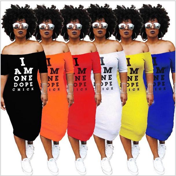 Off Shoulder T Shirt Dress Women Slash Neck Bandage Dresses