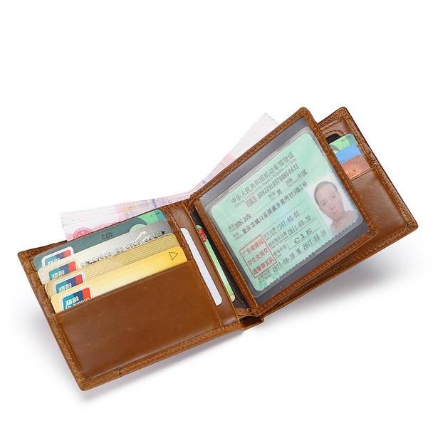 Men's Genuine Leather Bifold ID Credit Card Holder Wallet Purse
