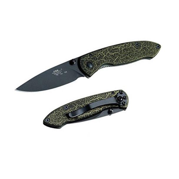 SanRenMu SRM Black Balde Stainless Steel Handle Folding Knife F3-723