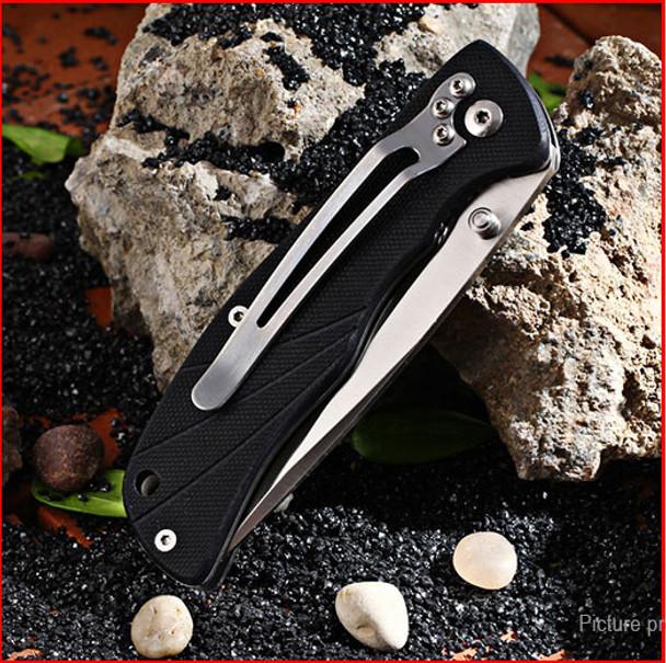 Enlan Bee L05  black G10 Handle 8CR13Mov Blade Folding Pocket Knife With Clip Liner-lock