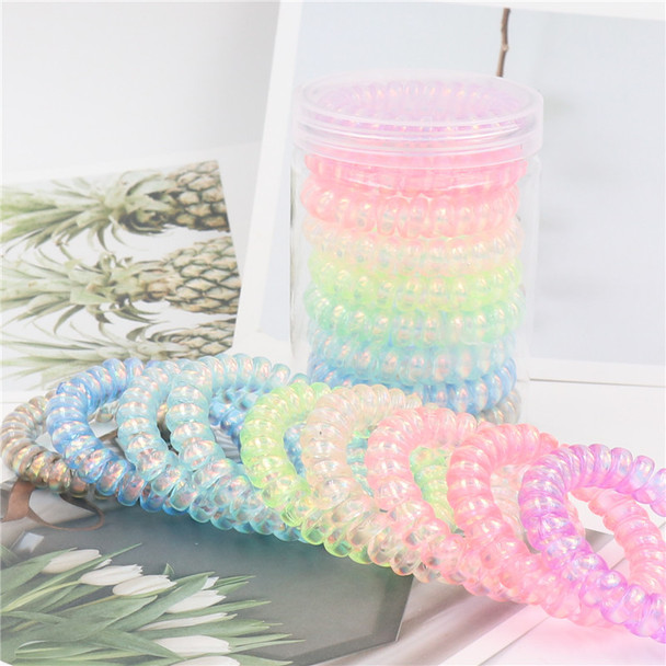 Big Line Hair Bands Candy Colored Transparent Bright Silver Frosted Telephone Hair Bands Spring Hair Bands 9pcs per Set