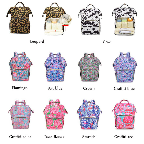 Multi Function Mommy Bag Large Capacity Baby Bag Mother Maternity Leave Bags Fashion Leisure Flower Backpack