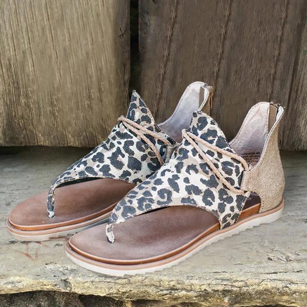 Women Leopard Sandals Lady Cross Border Anti-skid Fashion Style Flat Sandals Shoes