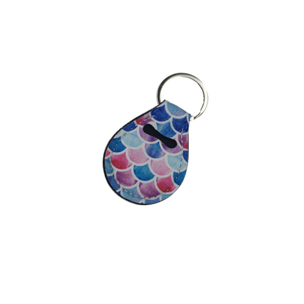 Neoprene Quarter Holder Keychain Diving Material for Party Favor 15 Designs Unicorn Pattern Floral Print with Metal Ring