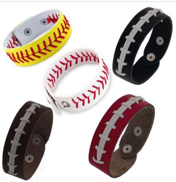 Mens Softball Baseball Leather Seam Bracelet Gifts Fashion Sports Weave Bracelets