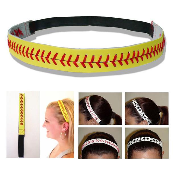 Women Leather Sports Headband Softball Baseball Hair Bands Womens Elastic Head Bands Headwear