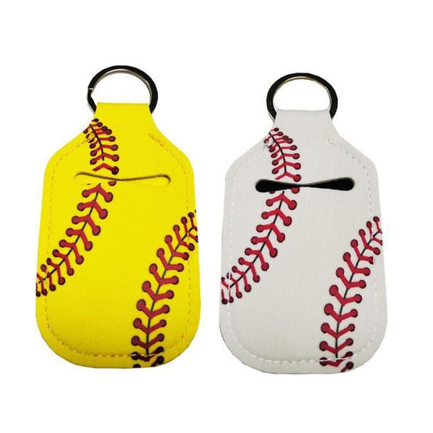white yellow baseball travel size hand sanitizer keyring holder