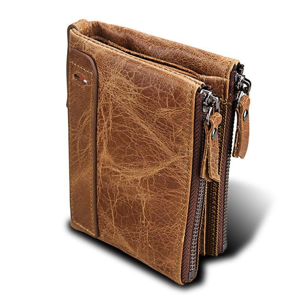 Men's Leather Purse Genuine Cash Anti-RFID Stealing Brush Men's Zipper Wallets