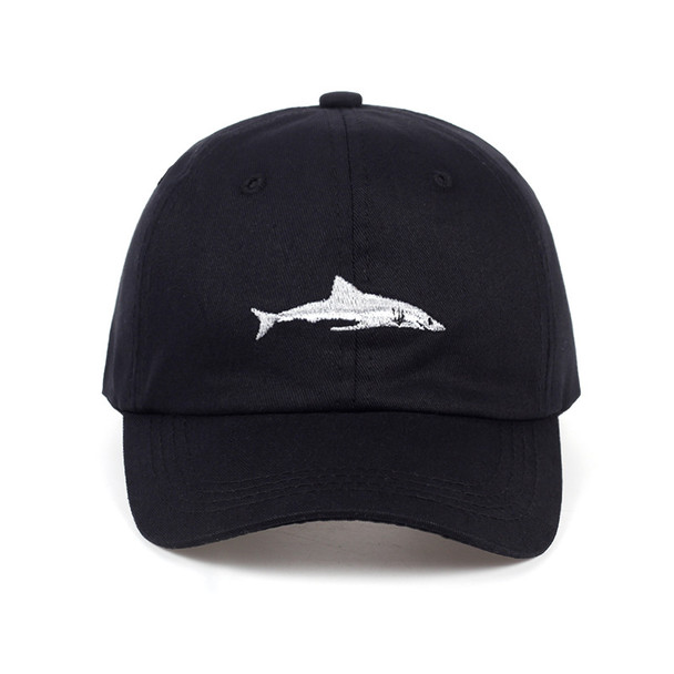 Cotton Washed Baseball Adjustable Caps Men Women Hats Shark Embroidery Dad Hat