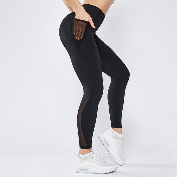 black workout leggings yoga pants with side pockets