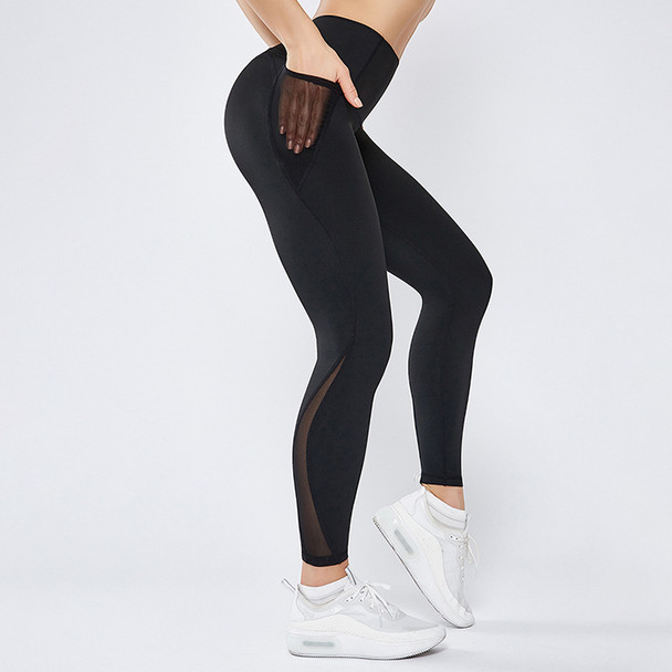 black workout leggings yoga pants with side pockets