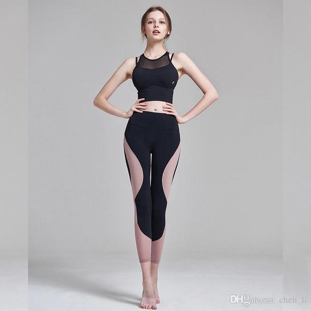 Yoga Ladies Fitness Clothes Sportswear Leggings Sports T-shirt Underwear Hips Running Feet Fitness Pants Sets
