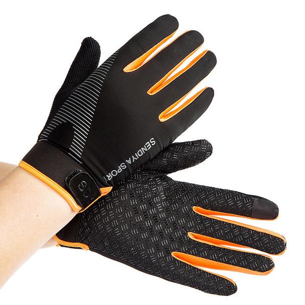 black orange fitness gloves