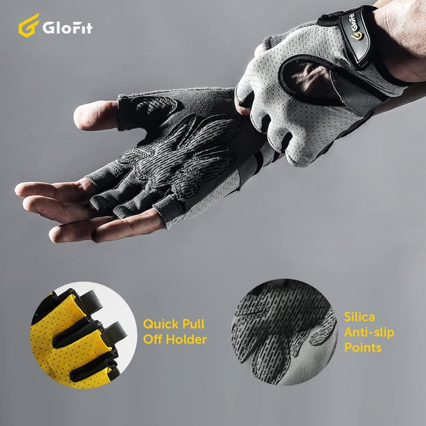 anti-slip double layer palm half finger gloves easy wear