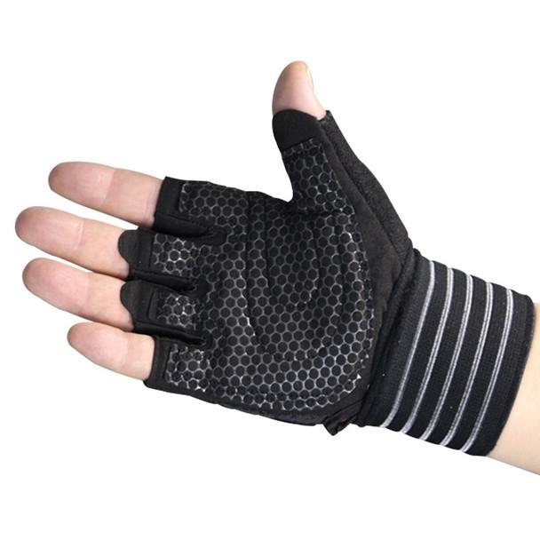 half finger black weight lifting gloves for men