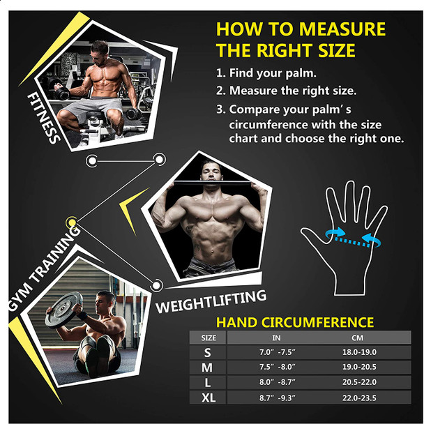 size chart of weight lifting gym fitness workout gloves