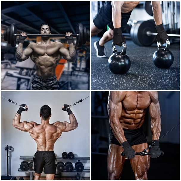 fitness gym wear workout gloves in weight lifting kettlebells pulling exercise