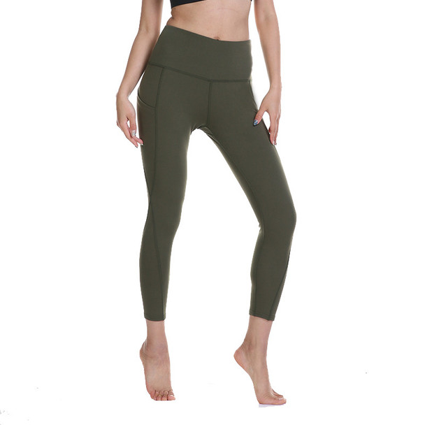 womens army green yoga pants with pockets