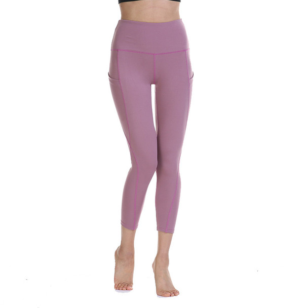 workout pants with pockets in purple color for women