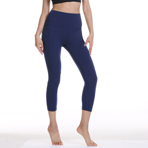 women's navy blue yoga pants with pockets