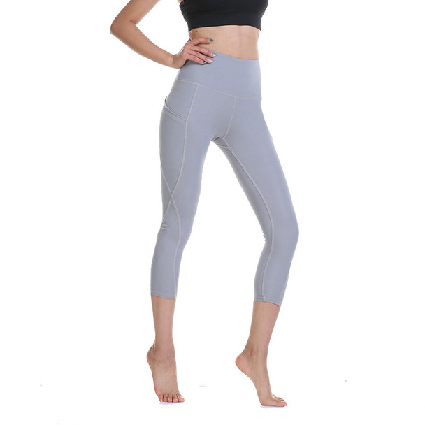 light gray yoga pants with back pockets