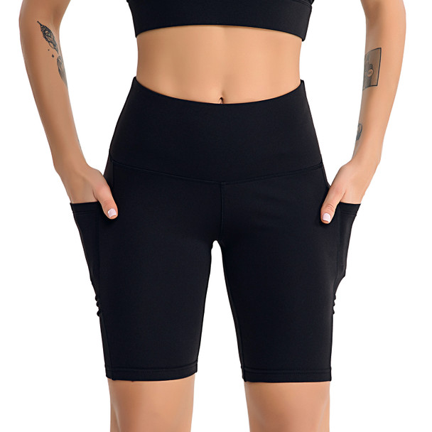 black biker shorts with 2 side pockets