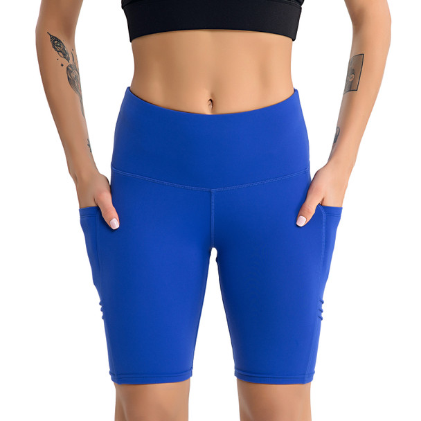 blue cycling shorts with pockets