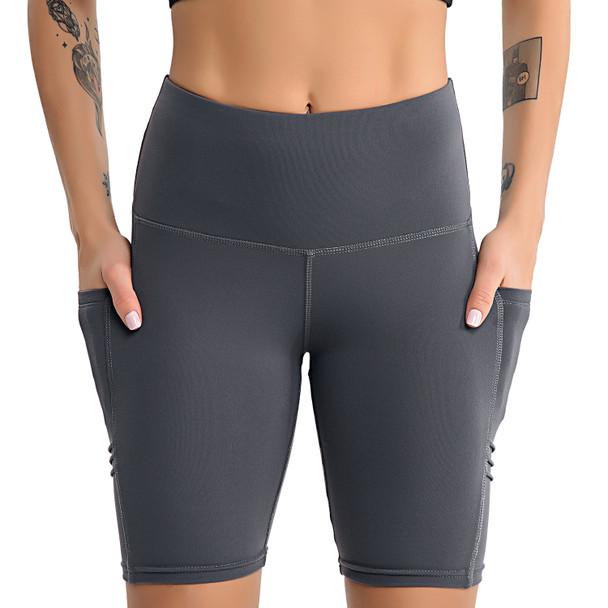 women in gray biker shorts