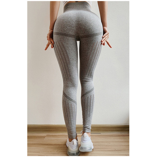 women in gray yoga pants get peach shaped butt with slim thighs