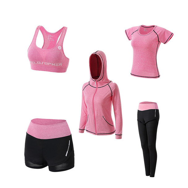womens pink fall yoga workout clothes sets 5 in 1