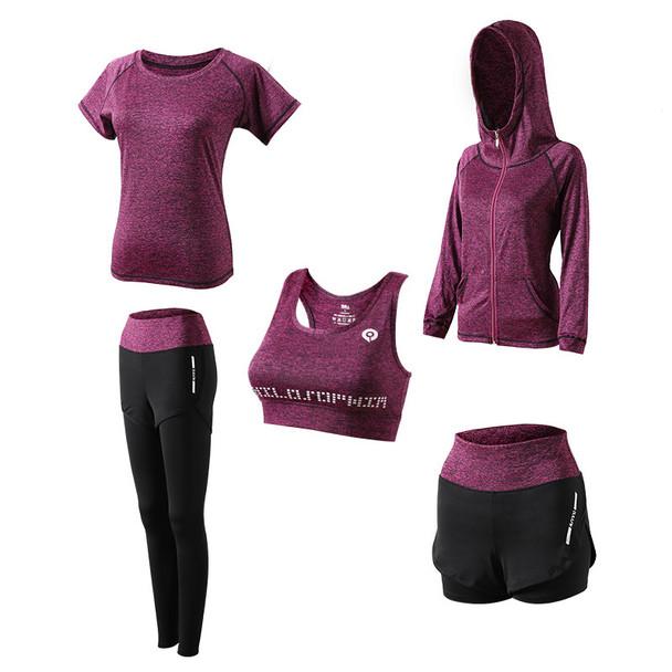purple activewear womens clothing gym wear set in autumn