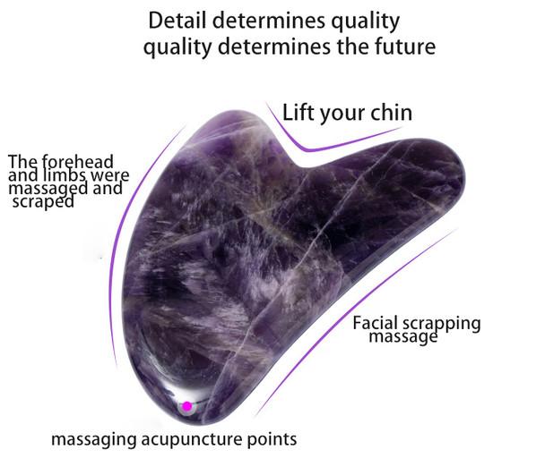 Amethyst Stone GuaSha Tool Natural Material Gua Sha Massage Tool Hand Polished Gua Sha Facial Tool for Skin Face and Neck Care