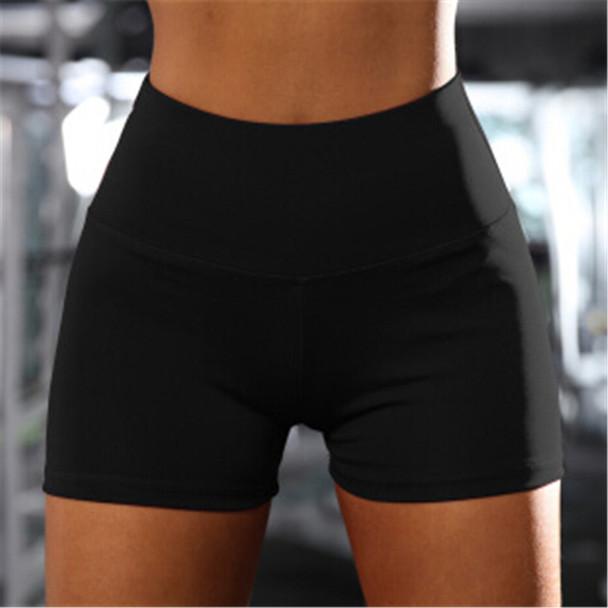 Women Casual Solid Elastic High Waist Push Up Fitness Yoga Shorts Running Gym Stretch Sports Short