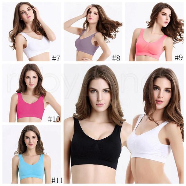 Women Seamless Soft Sports Bra Yoga Fitness Stretch Workout Tank Top Padded Bra