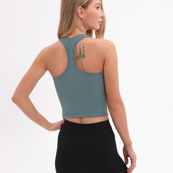 Women Plain Nylon Yoga Crop Tops Sport Tank Top Exercise Four-Ways Stretchy Fitness Vest Workout Clothes