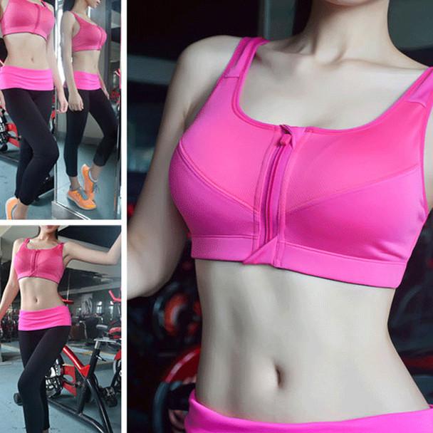 Women Zipper Sports Bras Padded Push Up Tops Lady Girls Fitness Run Gym Yoga Vest