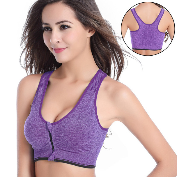 Women Zipper Push Up Sports Bras Padded Wirefree Breathable Sports Tops